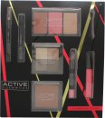 Active Cosmetics Glamour To Go Gift Set Eye Liner Pencil + 6.5ml Mascara + 4 x 2.5g Eye Shadows + 10g Bronzer + 2 x 6g Blusher + 6g Highlighter + 10.5ml Lip Gloss + 3.3g Lip Crayon + Applicator